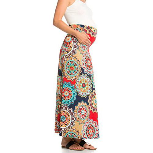 Maternity High Waisted Printed Floral Maxi Skirt