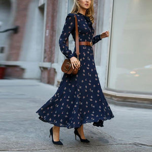 Elegant Floral Printed Long Sleeve Maxi Dress