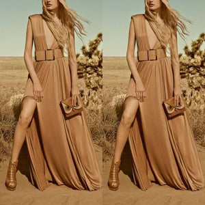 Elegant Down Collar Sleeveless Maxi Dresses