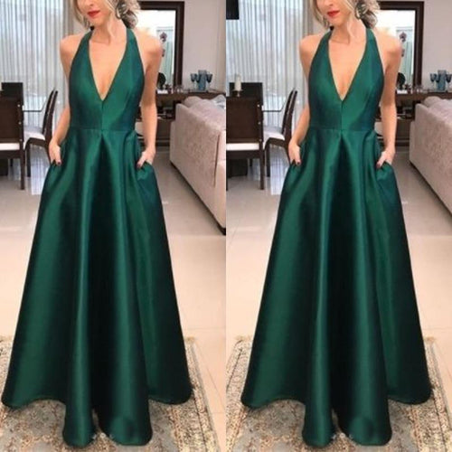 Sexy V Neck Bowknot Backless Plain Maxi Dress