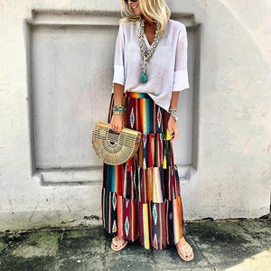 Fashion Multi-Color  Printing Skirt