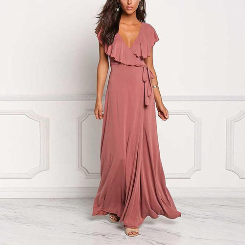 Short Sleeved Sexy & Elegant Deep V-Neck Maxi Dress