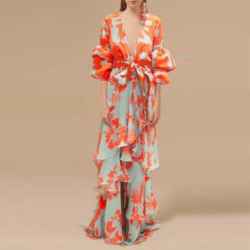 Flash Sale Sexy Deep V Neck Floral Printed Lantern Sleeve Maxi Dress