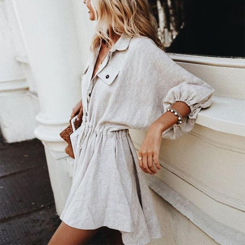 Loose Lapel Lantern Sleeve Lace Up Casual Dress
