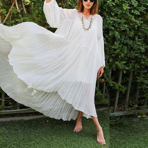Loose V Neck Chiffon Long Sleeve Maxi Dress