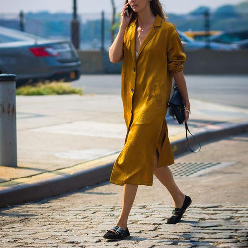 Loose Button Lapel Long Sleeve Split Shirt Dress