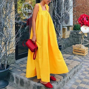 Square Collar Sleeveless Loose Maxi Dress