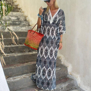 V-Neck Shape Printed Maxi Dresses