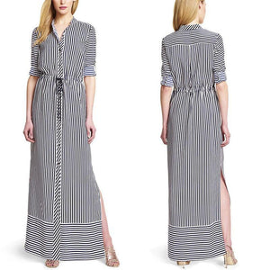 Elegant V Neck Stripe Long Maxi Dress
