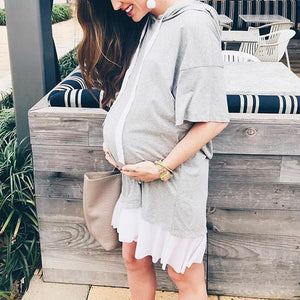 Maternity  Solid Light Gray Sweater Dress