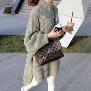 High Collar Casual Knit Maternity Sweater