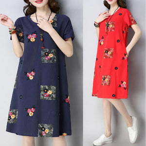Women Folk-Custom Embroidered Linen Vintage Shift Dress
