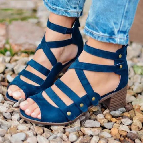 Casual Hollowed Thick Heels Sandals