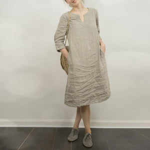 Cotton/Line Casual V-Neck Shift Dress