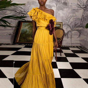 One Shoulder Yellow Plain Maxi Dress