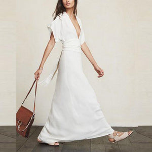 Deep V Neck Short Sleeve White Plain Maxi Dress