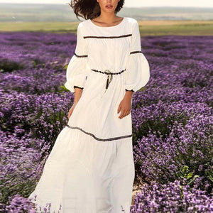 Romantic Cotton  White Maxi Dress