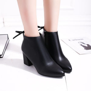 Pointed Solid Color High Heel Martin Boots