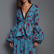 Flash Sale Sexy Deep V Collar Floral Printed Elastic Waist Jumpsuit