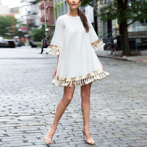 Round Neck  Half Bell Sleeve With Tassel Casual Dress