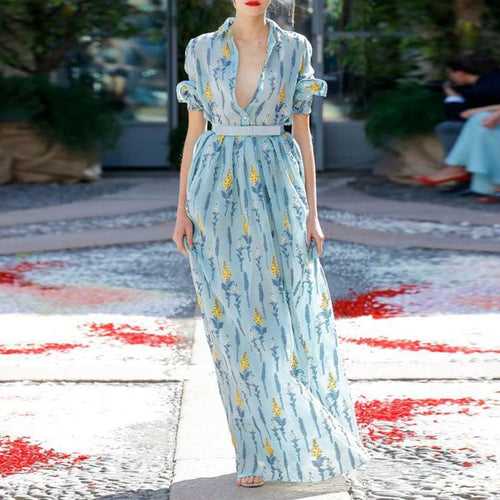 Elegant Lapel Short Sleeve Printed Maxi Dress