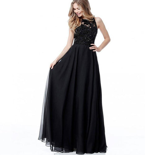 Vintage Formal Lace And Chiffon Evening Gowns Prom Dress
