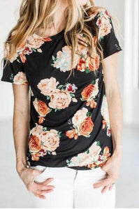 Women Floral Printed Short Sleeve T-Shirts