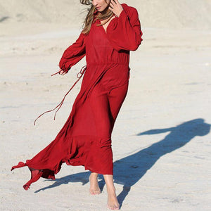 Sexy & Fashion V Neck Long Lantern Sleeve Plain Maxi Dress