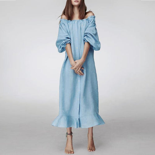Sexy Off Shoulder Lantern Sleeve Plain Casual Dress