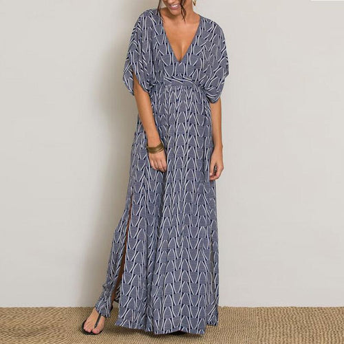 Elegant V Neck Short Sleeve Printed Maxi Dress