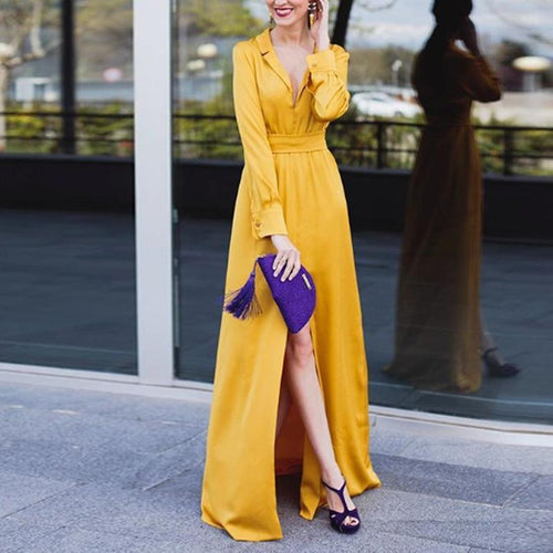 Sexy Lapel V Neck Long Sleeve Split Maxi Dress