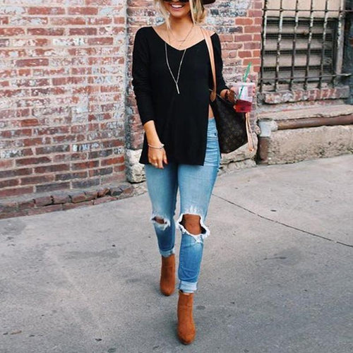 INS V-Neck Long Sleeve Side Slit T-Shirt