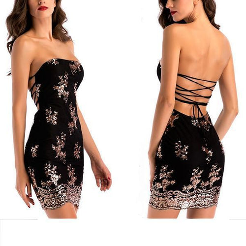 Open Back Straps Hip   Skirt Sexy Tube Top Dress