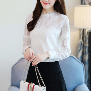 Women Lace Hook Flower Hollow Mesh Patchwork Slim Shirts