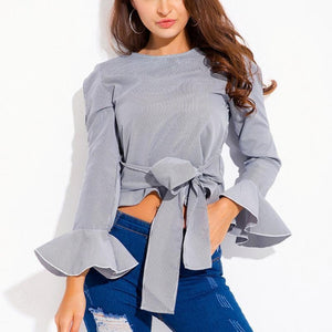 Short Bandage Stripe Long Sleeves Shirt
