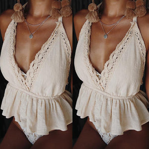Deep V Neck Lace Patchwork Backless Elastic Waist Camis