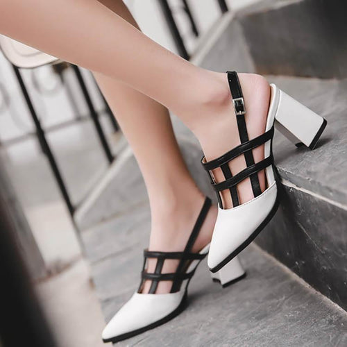 Hollow Thick High Heel Sandals