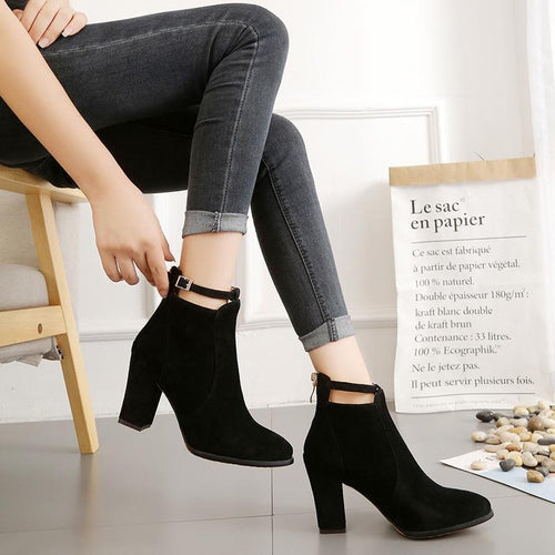 High Heel Ankle Strap Boots Back Zipper Martin Boots