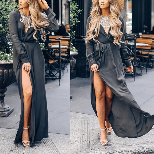 V-Neck Lace-Up Front Slits Long-Sleeved Casual Dress