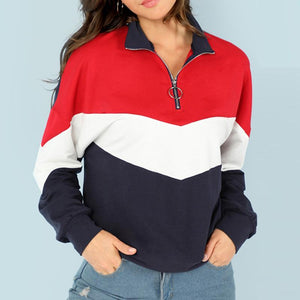 Stand Collar Color Block Stitching Sweatshirt