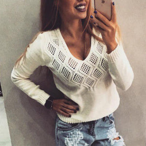 V Neck Long Sleeve Hollow Out Knitting Sweaters