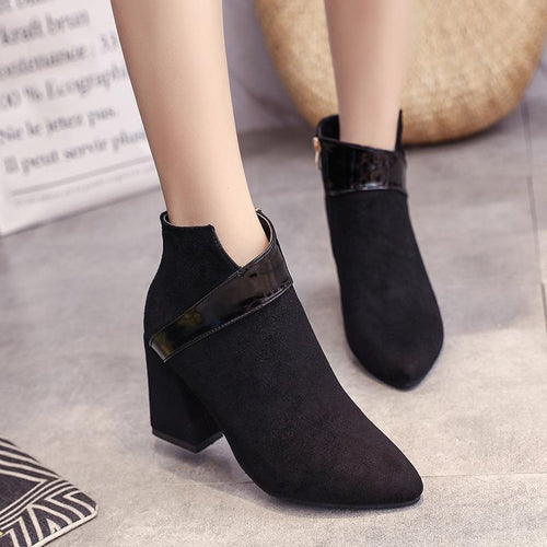 Pointed Scrub Thick Heel Ankle Boots High Heel Zip Martin Boots