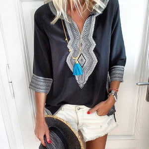 V Neck Bohemian Printed Half Sleeve Casual Blouses