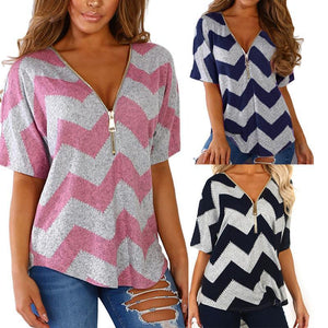 V Neck Zipper Short Sleeve Wave Stripes Printed T-Shirts