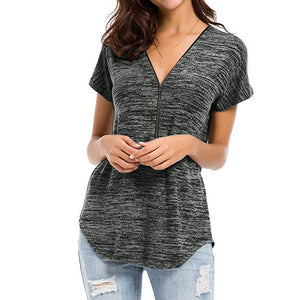 V Neck Zipper Short Sleeve Plain T-Shirts