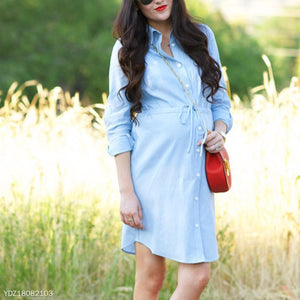Maternity Light Blue Long Sleeve Button-Front Shirt Dress
