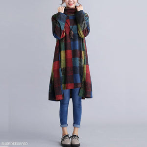 Women Autumn Plaid Patchwork Pile Collar Irregular Shift Dress New