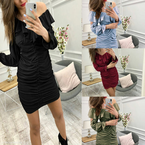Slim Skirt Ruffled Off-Shoulder  Bodycon Dress