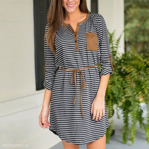 V Neck Button Pocket Suede Patchwork Belt Stripes Casual Dress