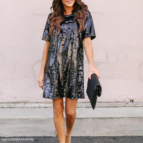 Mid-Length Skirt Sequin Dress